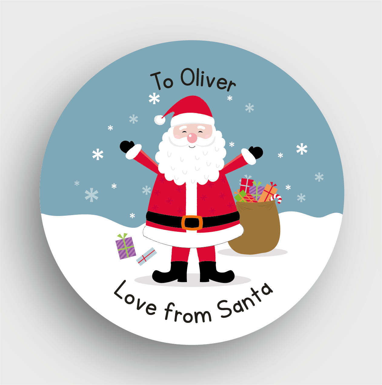 24 personalised christmas stickers ss03